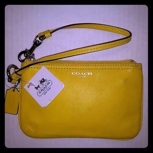 NWT Coach Legacy Lemon Yellow Leather Wristlet